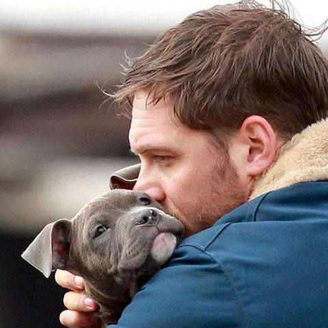 "Tom Hardy cuddling with his ""The Drop"" costar Zora: Image via Tom Hardy Facebook"