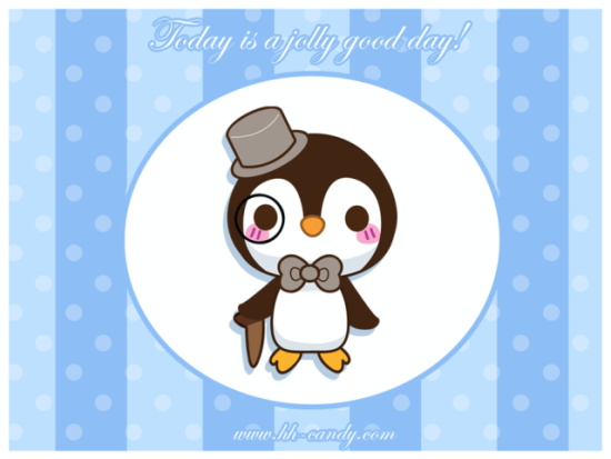 A Jolly Good Day by Olivia at HHCandy: I would imagine this rosy cheeked penguin has excellent manners. Penguin art from HHCandy
