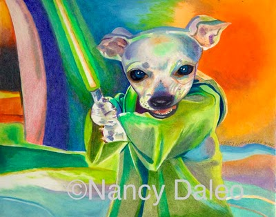 Yoda's Puppy by Daleo: Play, or play not, there is no question. Jedi dog art of Nancy Daleo