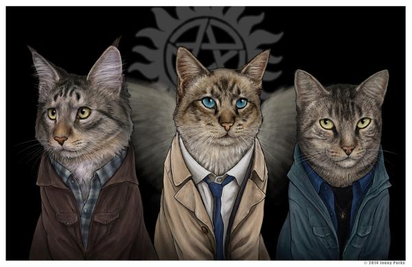 Sam, Castiel, and Dean from Supernatural