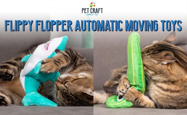 Pet Craft Supply Wiggle Pickle and Shimmy Shark Flipper Flopper Cat Toy