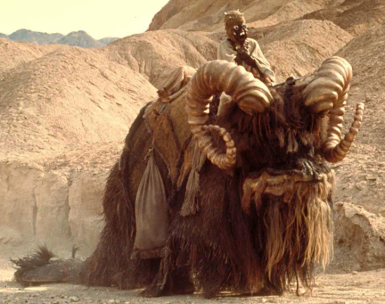 Tusken Raider on a Bantha, Star Wars, Episode 4 (Image via Wookieepedia)