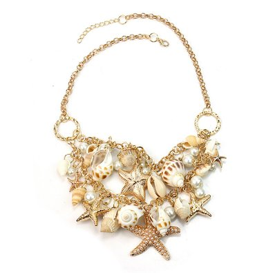 Sea Shell and Starfish Bib Necklace