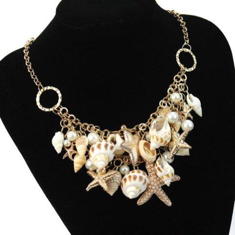 Sea Shell and Starfish Bib Necklace