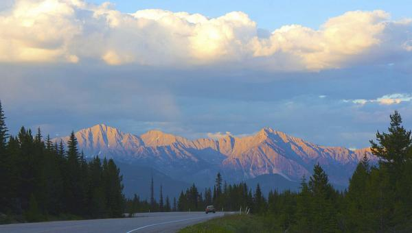Alberta Highway 93 with Rocky Mountains