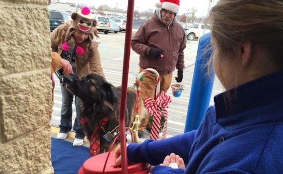 Alvin Ringing Bells for the Salvation Army (Image via Dog Heirs)