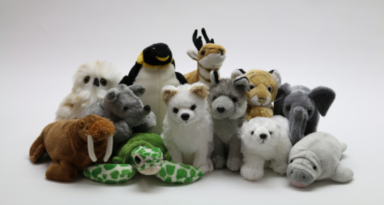 Just some of the plush animal gifts for donations made in the name of your giftee
