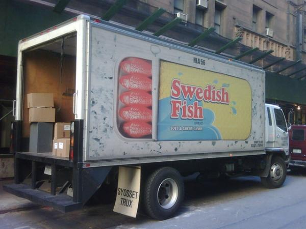 Swedish Fish delivery truck in NYC