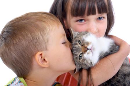 Children and cat: Source: animalshelterrelief.org