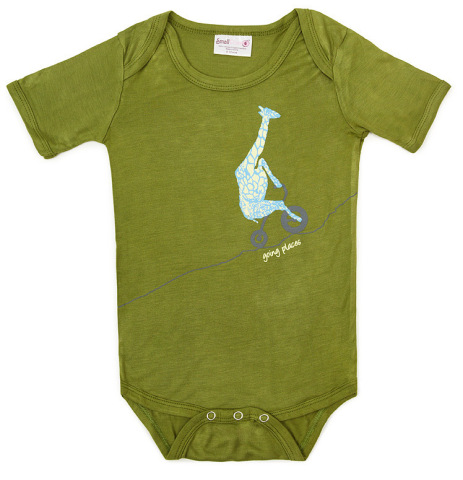 "Cute Giraffe Babysuit for the baby who is ""going places."""