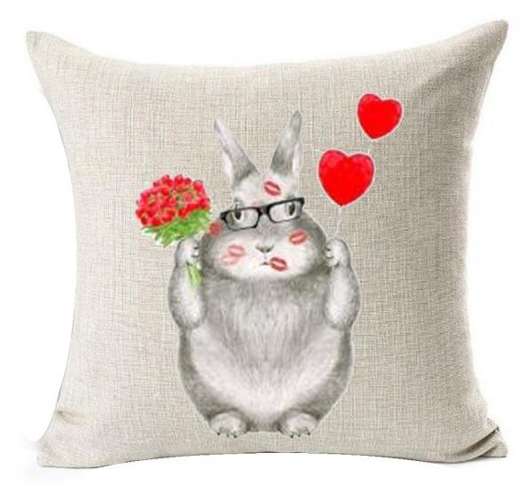 Valentine's Day Bunny Pillow Cover