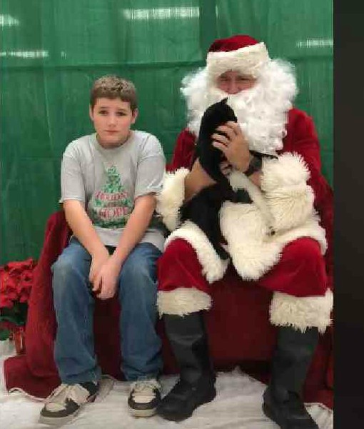 Austin with Santa and Gizzard