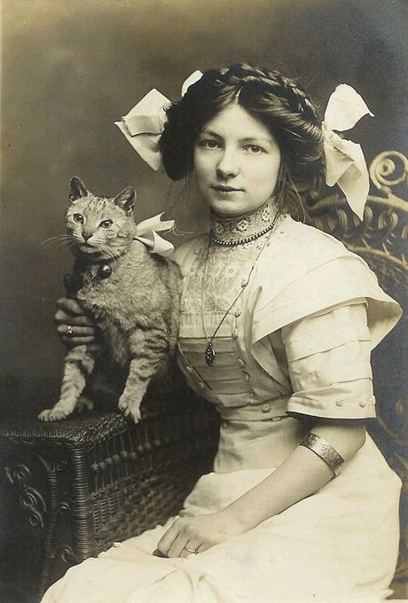 Victorian Girl and Her Cat