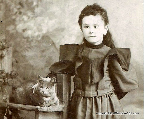 Victorian Girl with Her Cat