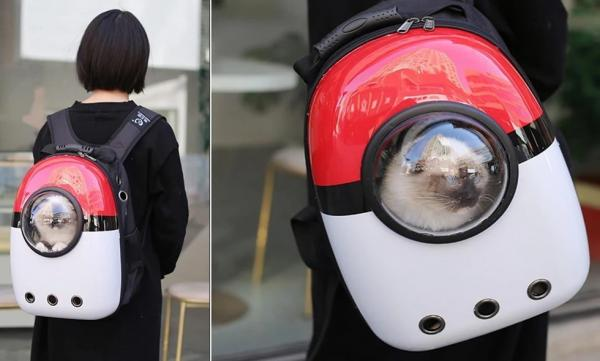 Poké Ball Backpack Pet Carrier Keeps Your Pets By Your Back Side