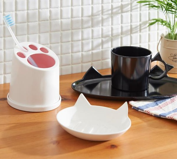 Cat's Paw Bathroom Toothbrush & Toothpaste Stand