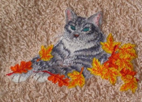 Cat in Autumn Leaves Towel