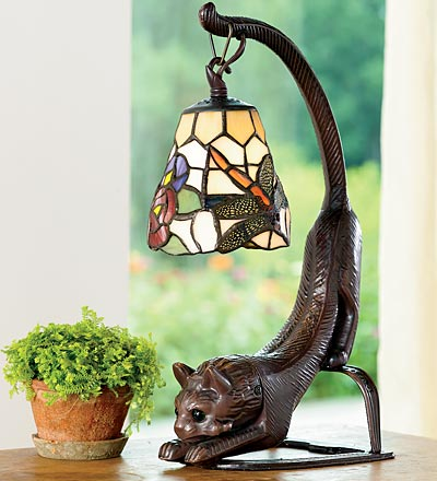 Stained Glass Cat Lovers Table Lamp