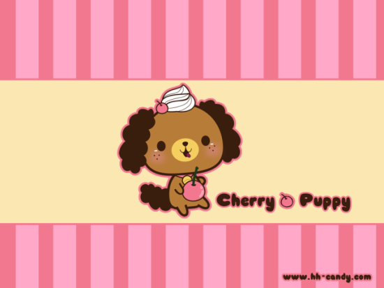 Cherry Puppy by HHCandy: Do you think this puppy works at a soda shop? Sweet puppy art by HHCandy