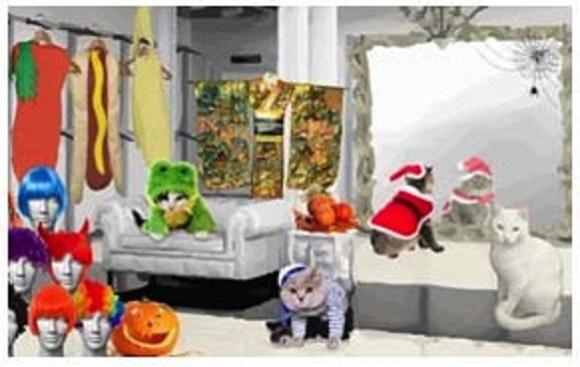 Sloppy Kiss eCard: Halloween Costumes (Cat version): © SloppyKissCards.com