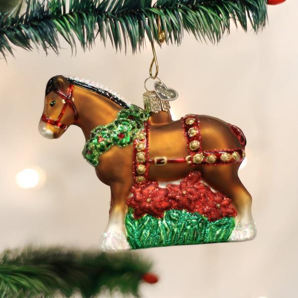 Clydesdale Blown Glass Ornament