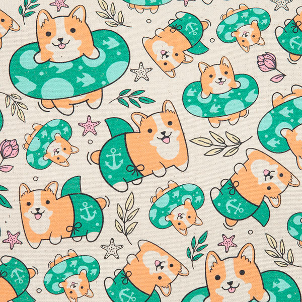 Corgi Beach Party Print