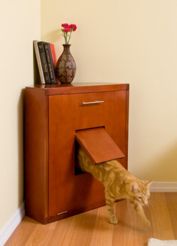 corner cat litter box furniture. This Corner Litter Cabinet, Available In Honey, Mahogany, And Espresso Finishes, Is Not Only Cat-friendly, It\u0027s Human-friendly Too. Cat Box Furniture R