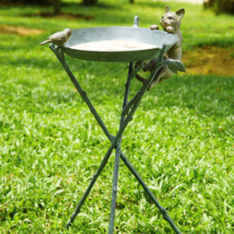 Curious Cat and Bird Birdbath