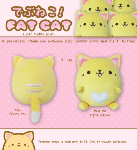 Debuneko Fat Cat Plushie by Hip Hop Candy: You can hug this fat cat art back! Cat plushie by HHCandy