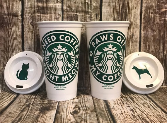 Starbucks Cat & Dog-Themed Coffee Cups from CleverHollyDesigns