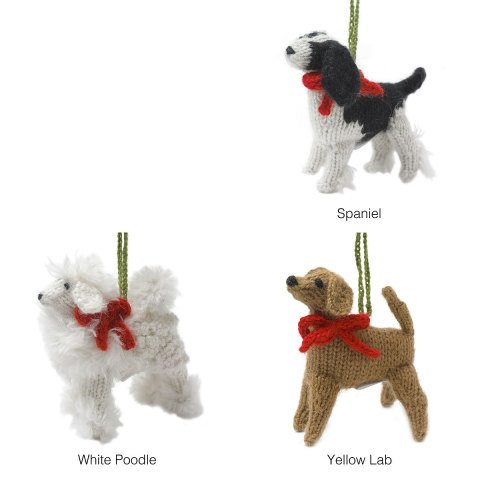 Hand Knit Dog Ornaments