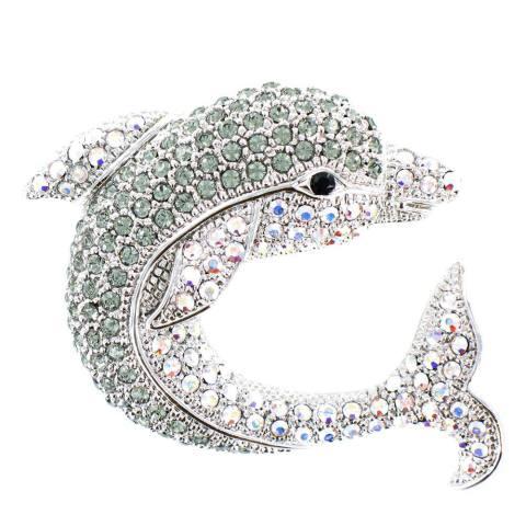Crystal Dolphin Brooch
