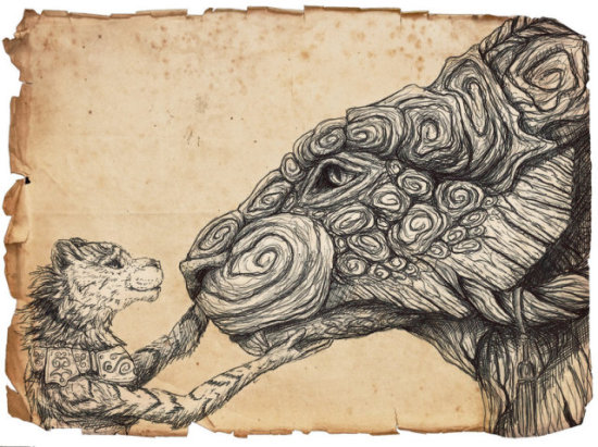 Don't Fret Precious, I'm Here by Kodriak: This unique portrayal of similar animals is very creatively ironic. Notice by the title that the smaller creature is comforting the larger.