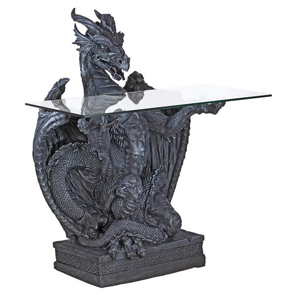 Subservient Dragon Glass-Topped Table