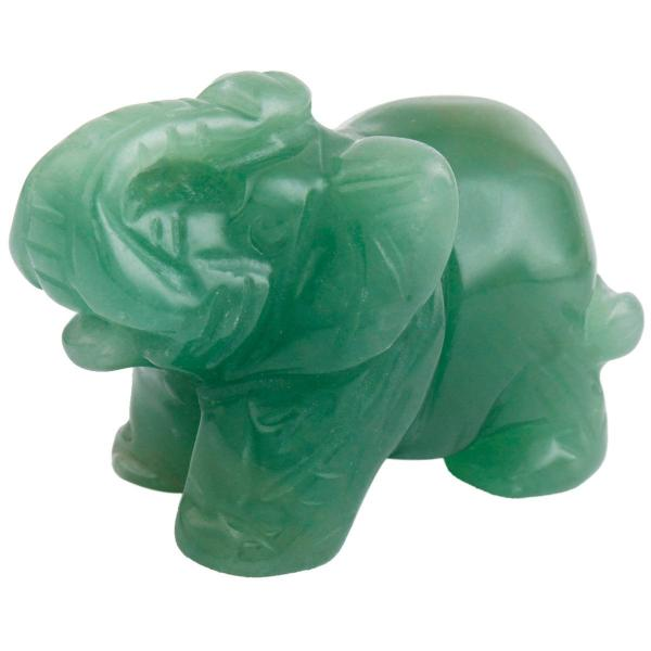 Carved Crystal Elephant Figurine -- Aventurine