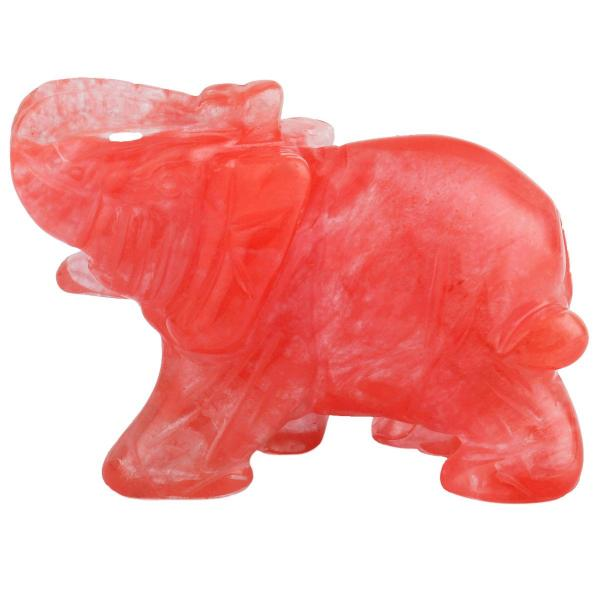 Carved Crystal Elephant Figurine -- Cherry Quartz