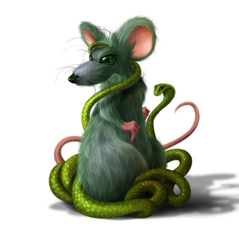Envy Mouse by Anntema: This mouse looks trap in the green coils of the serpent of envy.
