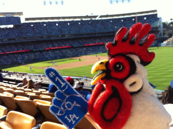 Felted Chicken Baseball by Mahuna: This chicken art is #1. Animal art by Mahuna