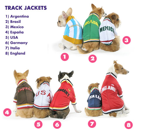 "World Soccer Cup Dog Track Jackets For 'World Pups"": ©Trixie+Peanut"