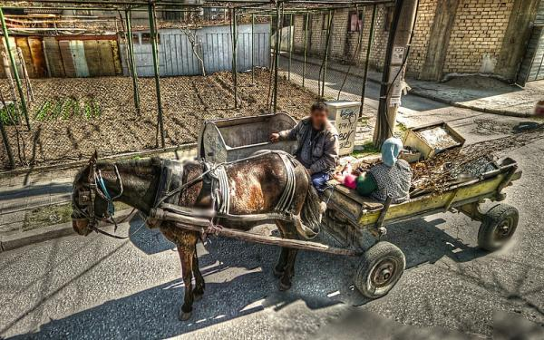 Google Street View HDR Plovdiv horse cart