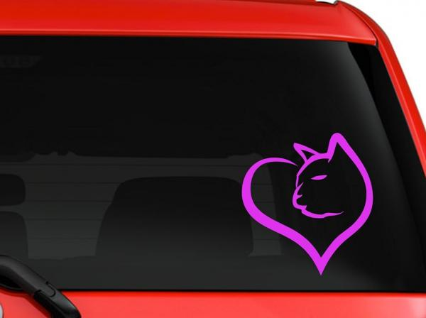 Cat Heart Silhouette Decal - Purple