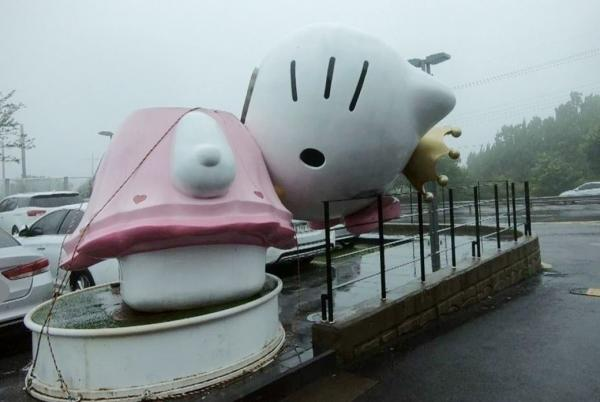 Hello Kitty Statue Beheaded By Typhoon