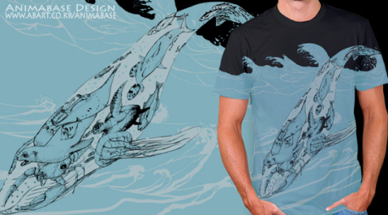 Holy Whale Tshirt by Kim: Look at all the animals inside the whale on the shirt. It's like animal art inception of Wonman Kim!