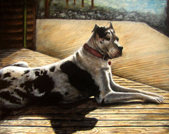 Home Is Where the Heart Is by Kodriak: This guy looks very content. Dog art by Kodriak.