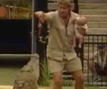 Steve Irwin and son, Robert, creating controversy. (You Tube Photo)