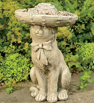 Kitty in a Bonnet Bird Feeder