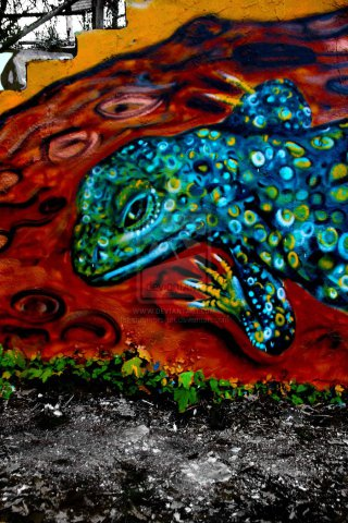 Lizard by Chromers Closer Look: Here is a closer look at the lizard graffiti of Chromers.