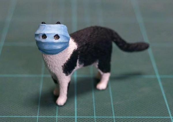 Masked Coronavirus Cat Meme-morialized As A 3D Resin ...