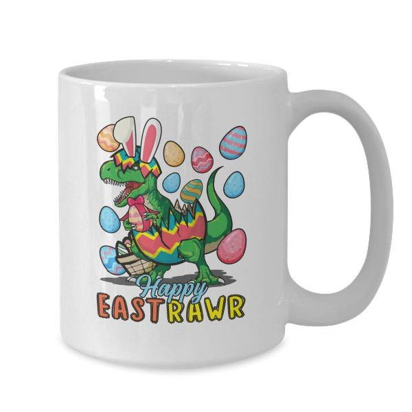 Happy Eastrawr T-Rex Mug -- White