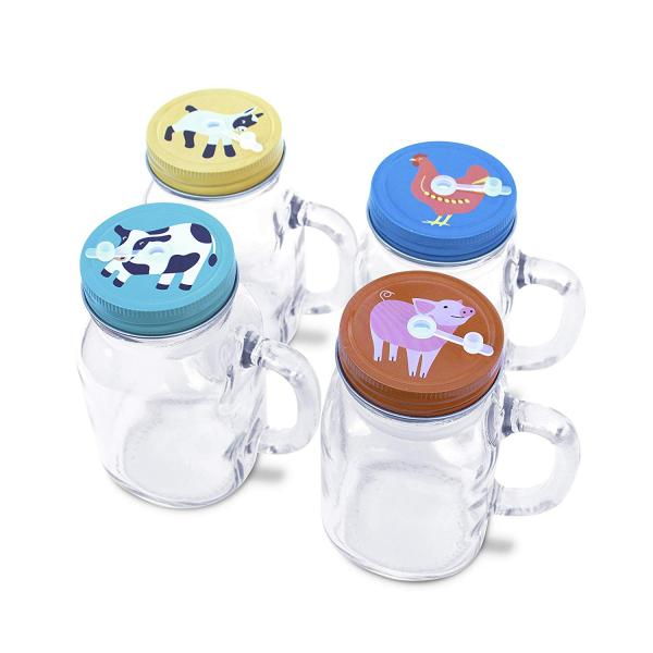 Mason Jar Mugs With Farm Animal Lids